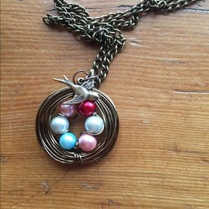 Custom birds nest necklace